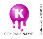 k letter splash logo. purple...   Shutterstock .eps vector #603084167