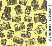 hand drawing retro photo... | Shutterstock .eps vector #603086045