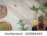 various colorful spices on... | Shutterstock . vector #603086465