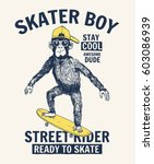 Skater Monkey Illustration Wit...