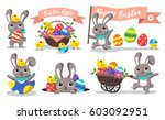 set of happy easter. easter... | Shutterstock .eps vector #603092951
