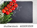 fresh cherry tomatoes with... | Shutterstock . vector #603093509