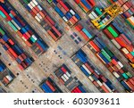 container container ship in... | Shutterstock . vector #603093611