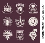 set of vector beige wine logo | Shutterstock .eps vector #603101327