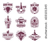 set of vector ruby wine logo ... | Shutterstock .eps vector #603101345