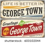 greetings from george town... | Shutterstock .eps vector #603102044