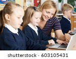 teacher helping female...   Shutterstock . vector #603105431