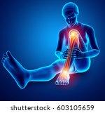 3d illustration of pain in leg   Shutterstock . vector #603105659