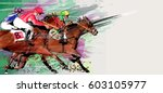 Stock vector horse racing over grunge background vector illustration 603105977