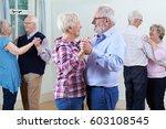 group of seniors enjoying... | Shutterstock . vector #603108545