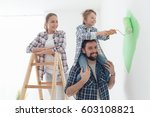 happy family renovating their... | Shutterstock . vector #603108821