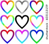 rainbow gradient heart icon...