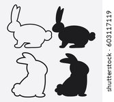 set of rabbits. vector... | Shutterstock .eps vector #603117119
