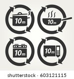 vector meal preparation icons... | Shutterstock .eps vector #603121115