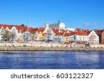 Picture of Szczecin (Stettin) city waterfront, boulevard view, Poland.