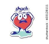 cartoon heart in shock emotion...   Shutterstock .eps vector #603128111