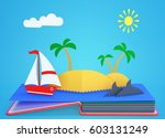 pop up book with tropical... | Shutterstock . vector #603131249