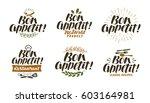bon appetit  lettering. food... | Shutterstock .eps vector #603164981