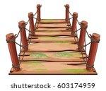 wooden bridge with moss growing | Shutterstock .eps vector #603174959