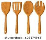 wooden spoon and spatula... | Shutterstock .eps vector #603174965