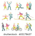 set of senior man and woman... | Shutterstock .eps vector #603178637