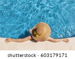 top view of a woman in hat... | Shutterstock . vector #603179171