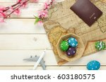 top view easter festival with... | Shutterstock . vector #603180575