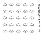 cloud line icon set | Shutterstock .eps vector #603180764