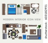 set of modern interior top view ... | Shutterstock .eps vector #603182951