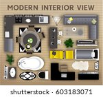 set of loft interior top view... | Shutterstock .eps vector #603183071