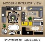 set of loft interior top view...   Shutterstock .eps vector #603183071