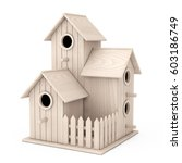 Set Of Little Wooden Birdhouse...