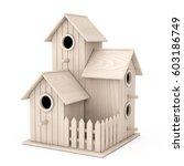 Set Of Little Wooden Birdhouse...