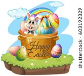 happy easter with rabbit and... | Shutterstock .eps vector #603192329