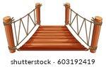 wooden bridge with rope... | Shutterstock .eps vector #603192419