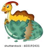 dinosaur in grey egg... | Shutterstock .eps vector #603192431