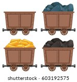 mining carts with stones and... | Shutterstock .eps vector #603192575