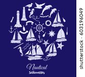 nautical background with ships... | Shutterstock . vector #603196049