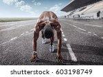 sport backgrounds. sprinter on... | Shutterstock . vector #603198749