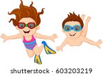 cartoon kids swimming underwater | Shutterstock .eps vector #603203219