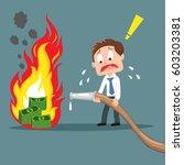 fail businessman fighting fire... | Shutterstock .eps vector #603203381