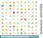 100 summer holidays icons set...