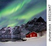 lofoten  svoelver  aurora...   Shutterstock . vector #603213647
