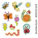 funny insects for kids. stickers | Shutterstock .eps vector #603221165