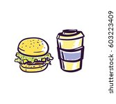fast food isolated vector... | Shutterstock .eps vector #603223409