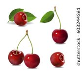 cherry realistic fruit vector... | Shutterstock .eps vector #603244361