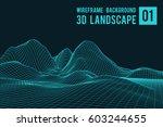 wireframe landscape background. ... | Shutterstock .eps vector #603244655