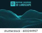 wireframe landscape background. ... | Shutterstock .eps vector #603244907