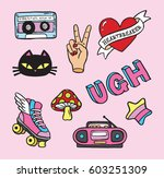 cartoon pin badge icons from... | Shutterstock .eps vector #603251309