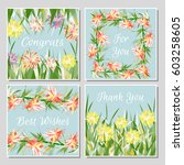 set of beautiful greeting cards ... | Shutterstock .eps vector #603258605